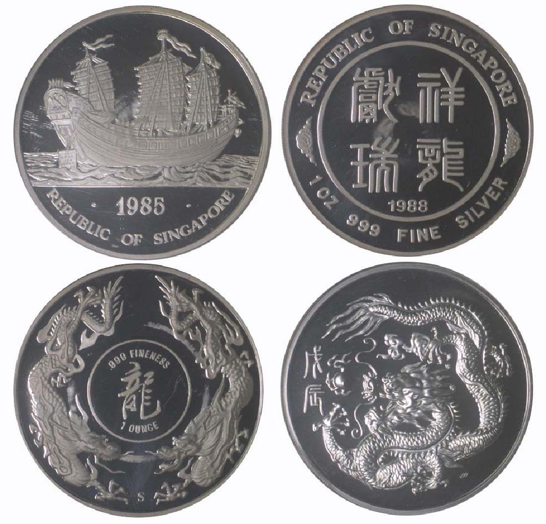 SINGAPORE Silver: Proof 1oz medal 1985, 1988.
