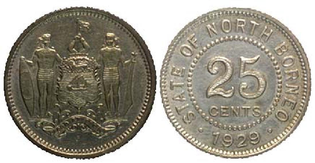 BRITISH NORTH BORNEO Silver: 25-Cents 1929