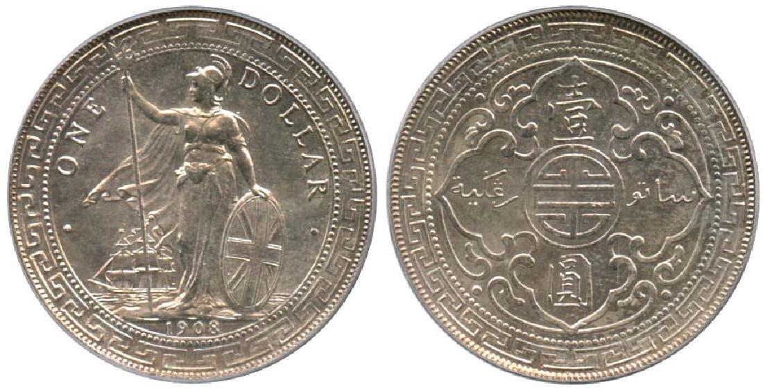 GREAT BRITAIN Silver Trade Dollar 1908