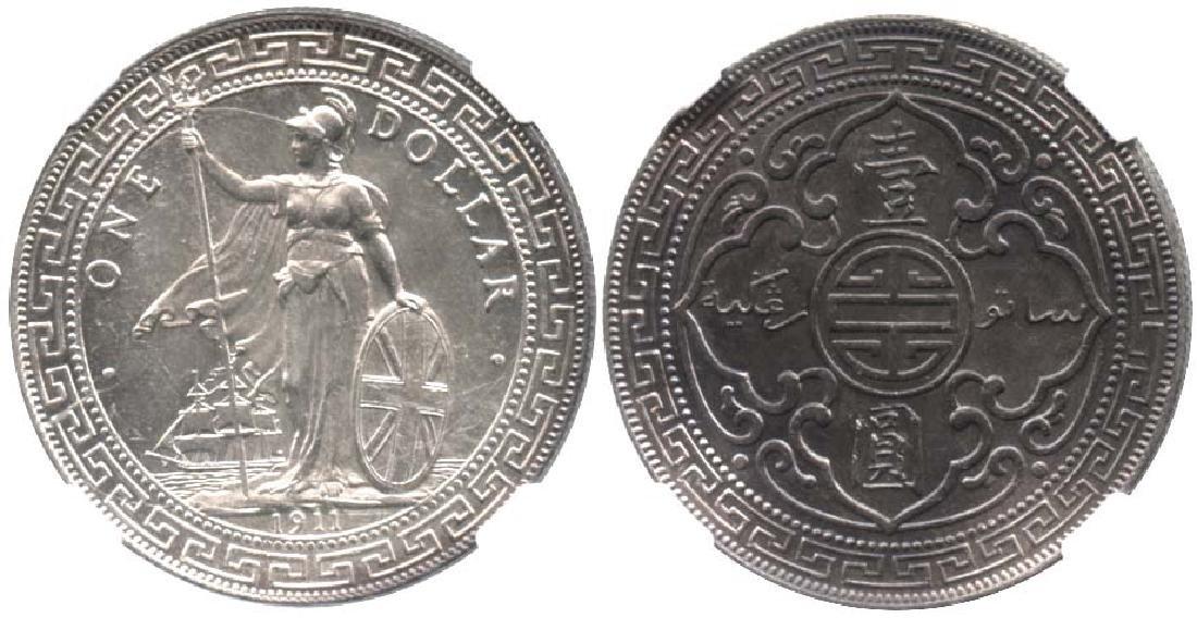 GREAT BRITAIN Silver Trade Dollar 1911B