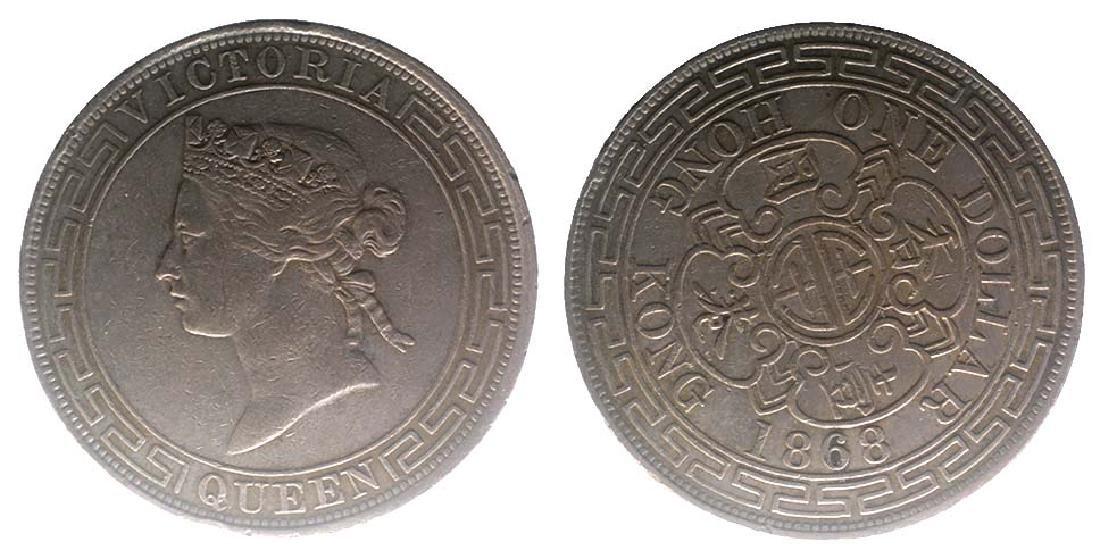HONG KONG Silver Dollar 1868