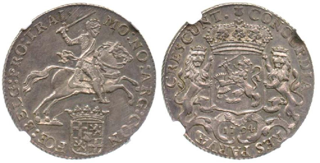 NETHERLANDS Silver: Rider  Ducaton 1794