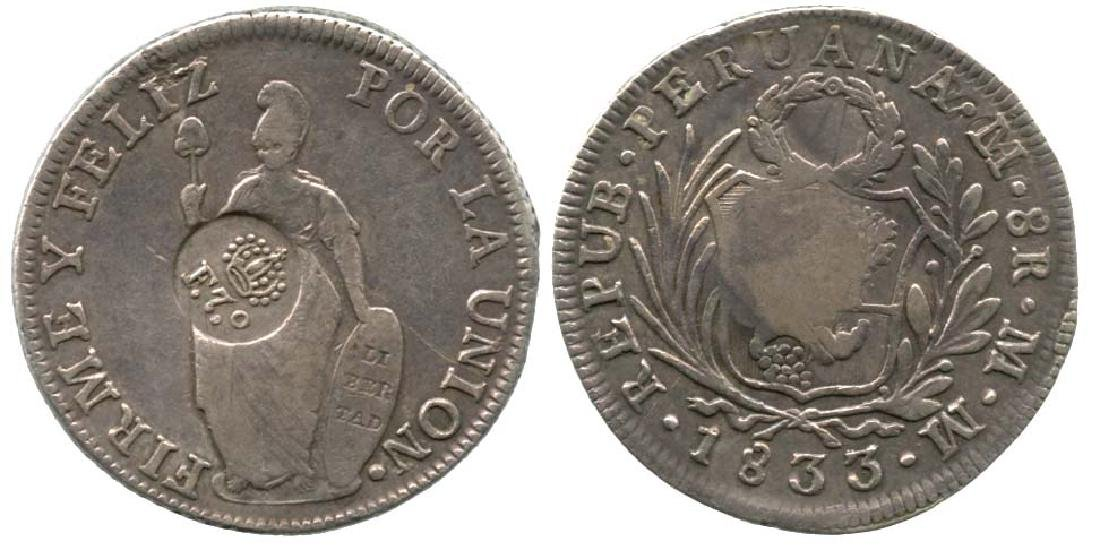 PHILIPPINES Peru Silver 8 Reales 1833