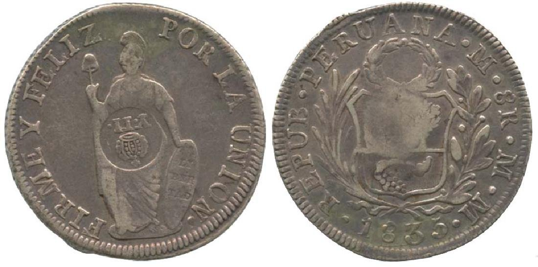 PHILIPPINES Peru Silver 8 Reales 1835