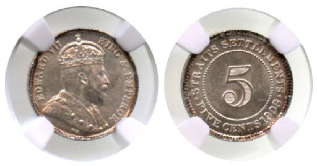 STRAITS SETTLEMENTS Edward VII Silver 5-Cents 1903