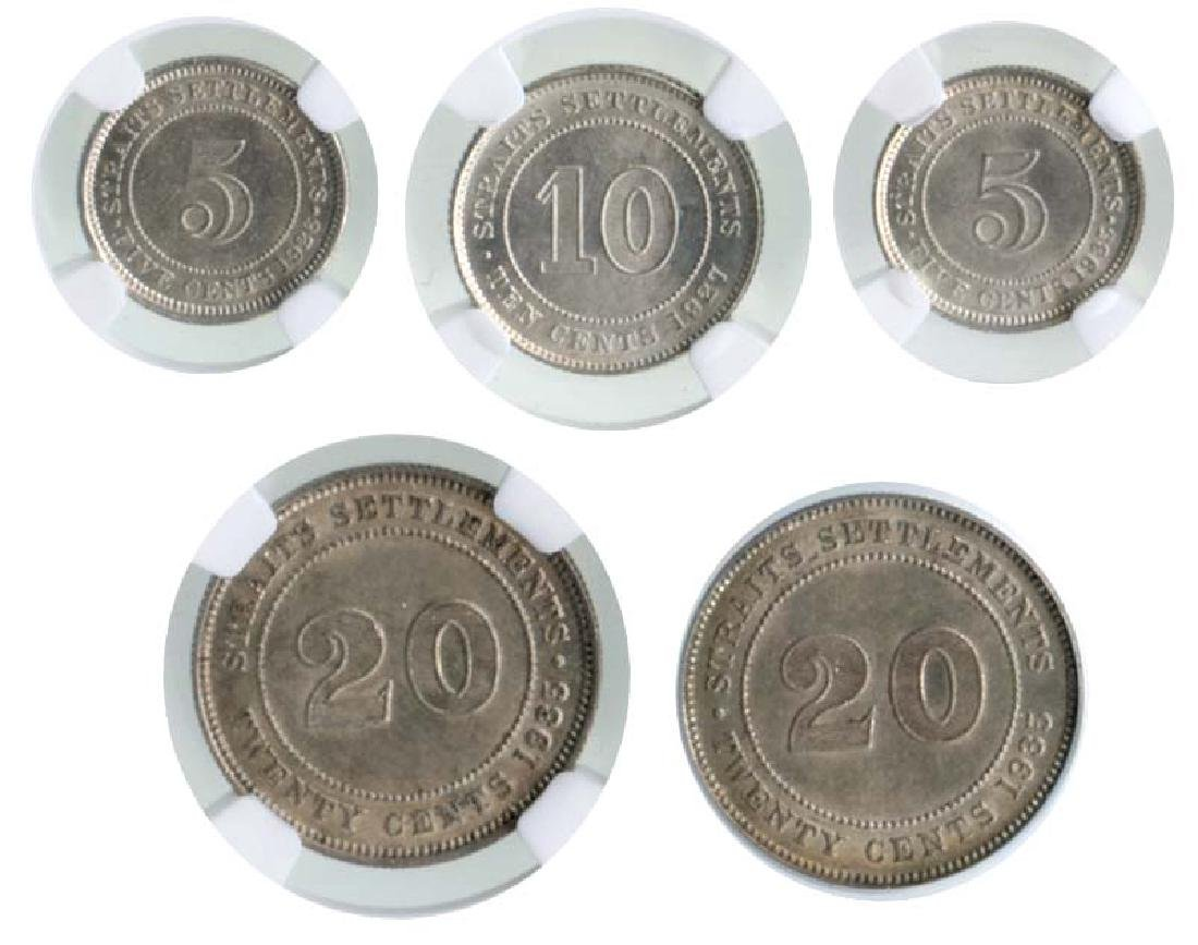 STRAITS SETTLEMENTS George V: Silver 5-Cents