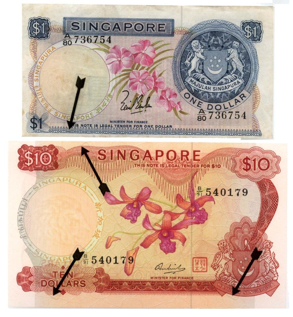 SINGAPORE $1 LKS & $10 HSS seal Error note
