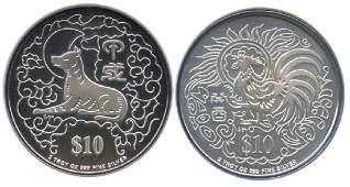 SINGAPORE Lunar Proof $10 1993 & 1994