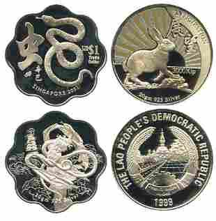 SINGAPORE Silver 1 Snake Trade Dollar 2001