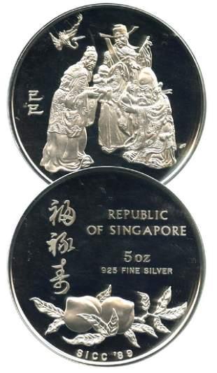 SINGAPORE Silver Proof 5oz Fu Lu Shou medal 1989