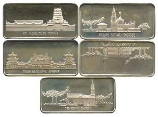 SINGAPORE Silver Collection of 5 Historical Monuments
