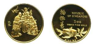 SINGAPORE Gold Proof 1oz Fu Lu Shou medal 1989