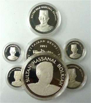BRUNEI Set of 6 Silver proof coins