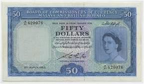 MALAYA  BRITISH BORNEO 50 1953