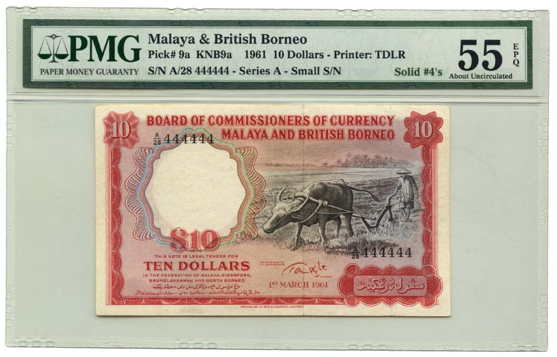 MALAYA & BRITISH BORNEO $10 1961 Solid 444444