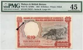 MALAYA & BRITISH BORNEO $10 1961 B/5