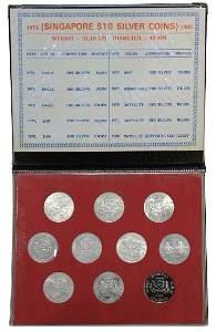 SINGAPORE Silver $10 1972-1979 )10pcs)