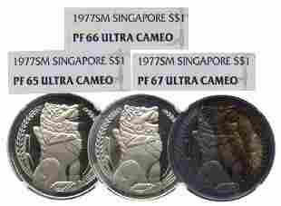 SINGAPORE Merlion Dollar 1977 3pcs