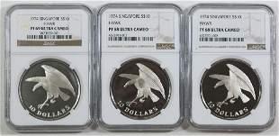 SINGAPORE Silver Proof various 3pcs