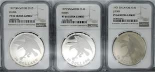 SINGAPORE Silver Proof Eagle 10 3pcs