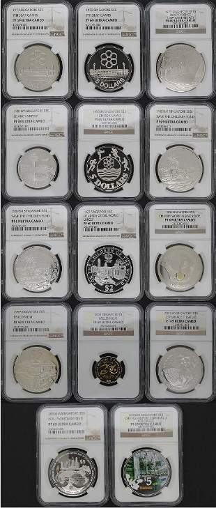 SINGAPORE Silver Proof various 14pcs