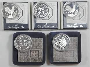 SINGAPORE Lunar Series 1oz Silver Medals 5pc
