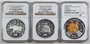 SINGAPORE Lunar Series Silver Proof various 3pcs0
