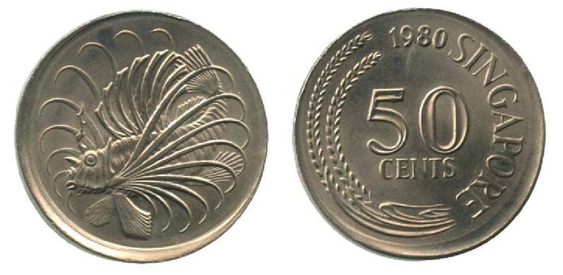 SINGAPORE Cu-Ni 50 cents 1980