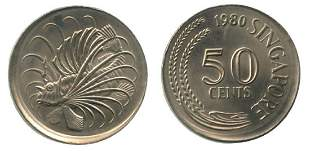 SINGAPORE CuNi 50 cents 1980