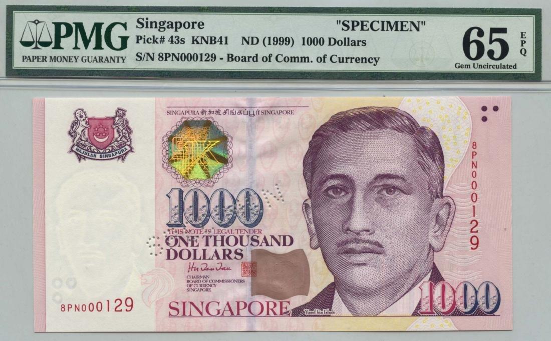 SINGAPORE Portrait Series: Specimen $1000