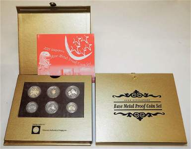 SINGAPORE Base Metal Proof Coin Set 2003 & 2004 (2pcs)