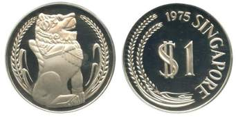 SINGAPORE Silver Merlion Dollar 1975 Key Year