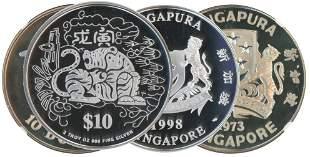SINGAPORE Silver Hawk Tiger Silver Proof 2pcs