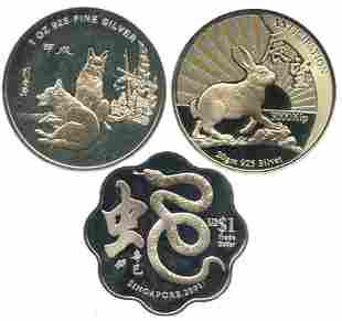 SINGAPORE Silver Proof Dog Snake Rabbit 3pcs