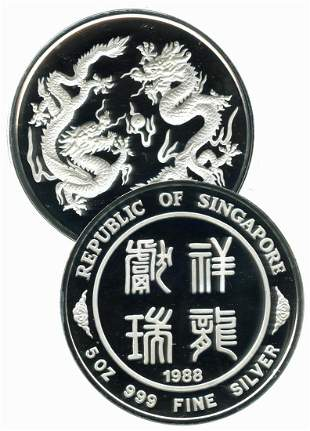 SINGAPORE Silver 5 oz medallion 1988 Dragon