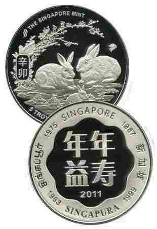 SINGAPORE Silver 5 oz medallion 2011 Rabbit
