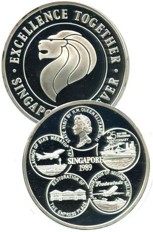 SINGAPORE Silver 5 oz medallion Excellance Together