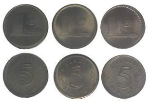 MALAYSIA Cu Ni 5 Cents ERROR 3pcs