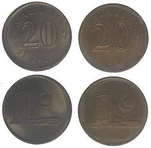 MALAYSIA Cu Ni 20 Cents 1976 and 1977 ERROR