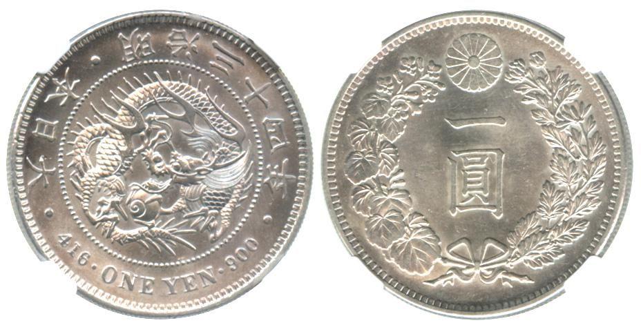 JAPAN Meiji Silver 1-Yen 34th Year. NGC MS62
