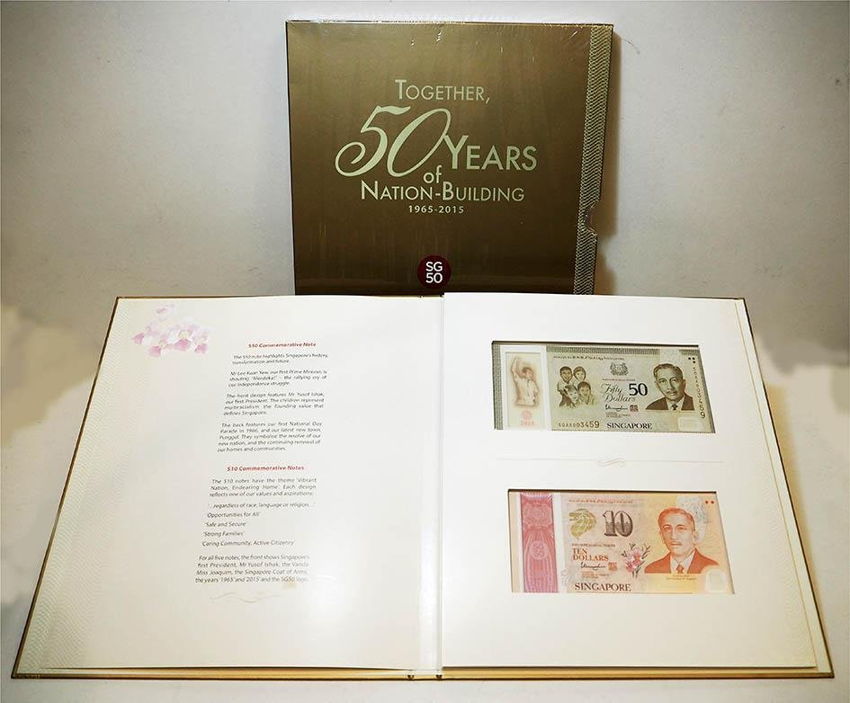 SINGAPORE SG50 2015 Golden Jubilee Identical $50 and