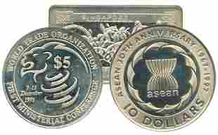 SINGAPORE Silver CuNi 10 commemorative 2 in 1 Coin