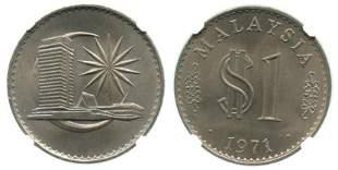 MALAYSIA RM1 1971 London Mint NGC MS66
