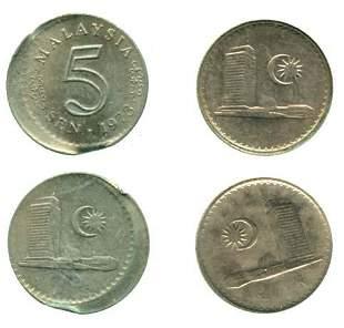 MALAYSIA Cu Ni 5 cents 1973 10 off center and Error