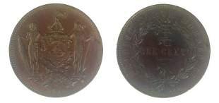 BRITISH NORTH BORNEO Copper 1 cent 1891 H KM 2 Nice