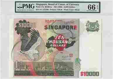 SINGAPORE Bird Series $10,000 A/1 121340 (KNB21a) PMG