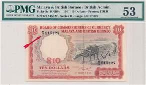 MALAYA & BRITISH BORNEO Buffalo $10 1961 'Big B'
