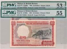 MALAYA & BRITISH BORNEO Buffalo $10 1961 pair Last