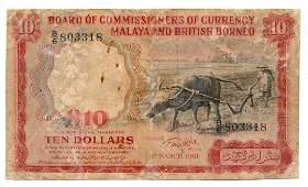 MALAYA & BRITISH BORNEO Buffalo 1961 $10 Last prefix