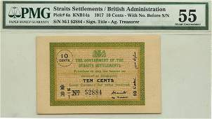 STRAITS SETTLEMENTS British Administration 10-Cents